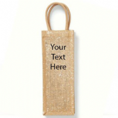 Personalised  Shimmer Jute Bottle Bag (W433)